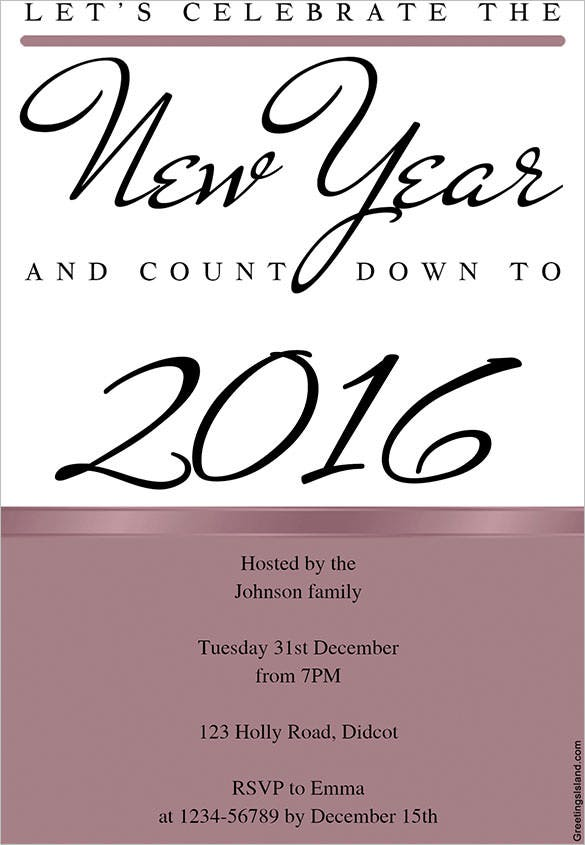 Celebrate The New Year Invitation Template