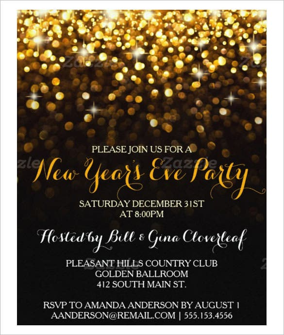 gold black new years eve party invitation template