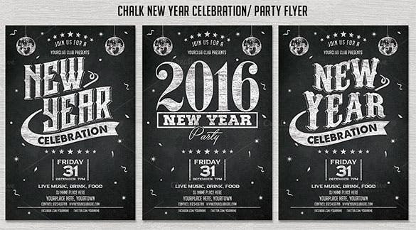 chalk new year party flyer invitation template download
