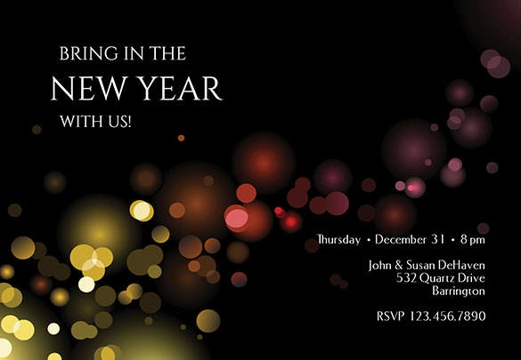 luminous editable new year invitation template download
