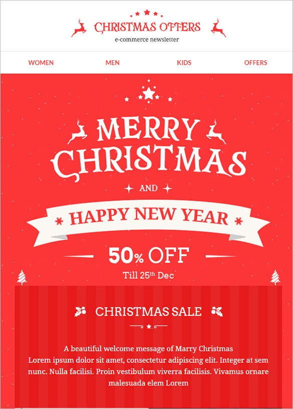 christmas new year sale offers responsive email template