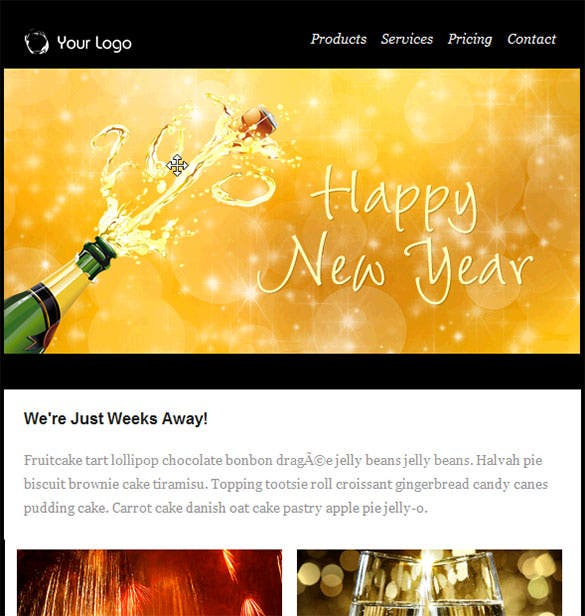 new year email templates included with groupmail download