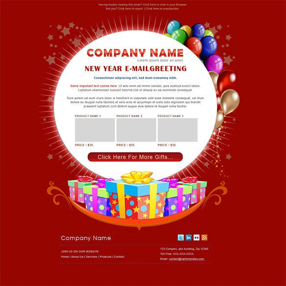 new year greetings email template psd desgin download