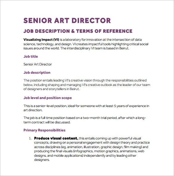 10 Art Director Job Description Templates Free Sample Example – Job Description Form Sample