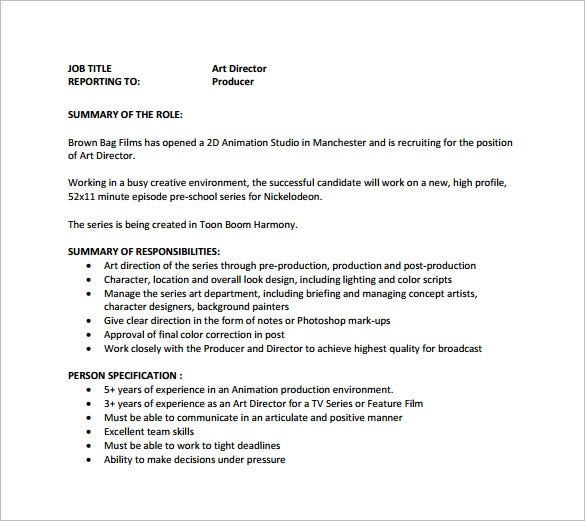 Art Director Job Description Template 8 Free Word PDF Format – Production Director Job Description