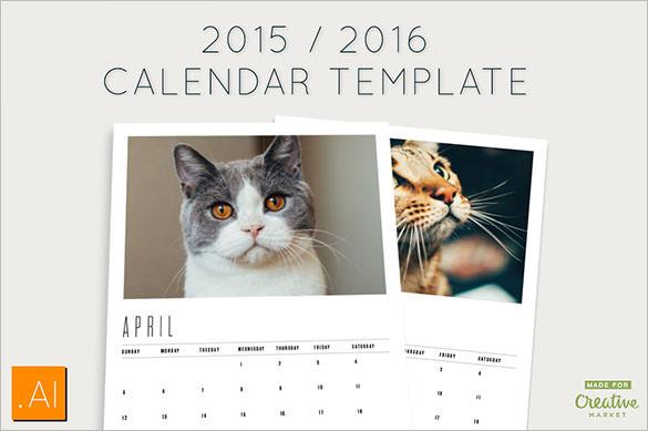 Premium 2016 Calendar Template Ai Format Download