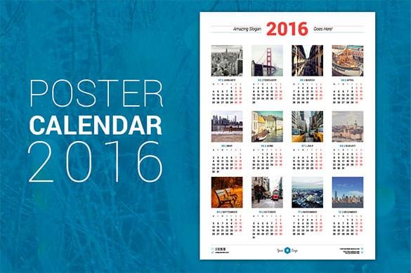 Calendar Poster Design : Calendar template free word pdf psd eps ai