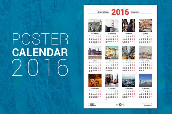 Calendar Poster 2016 : Calendar template free word pdf psd eps ai
