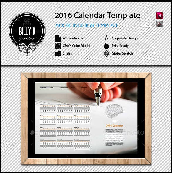 2016 calendar template indesign indd format