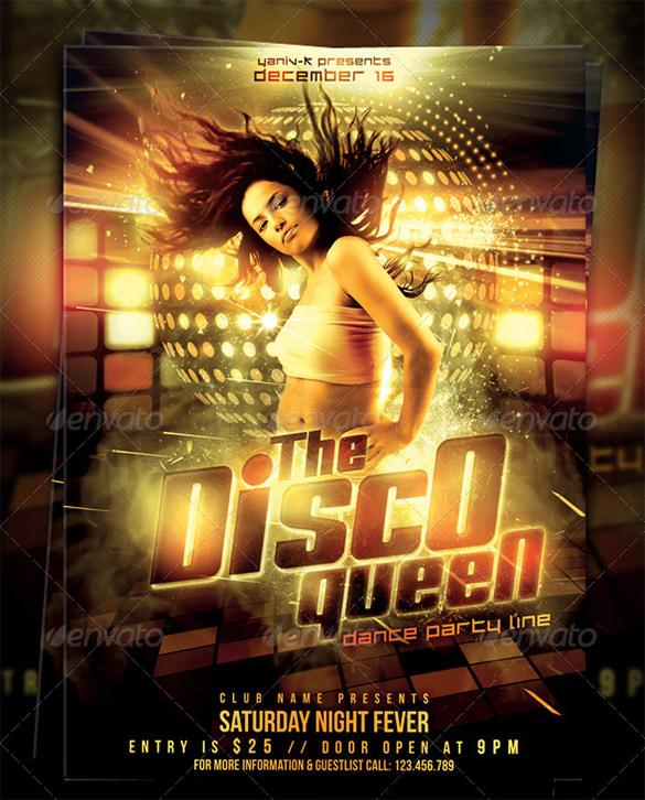 disco queen flyer template