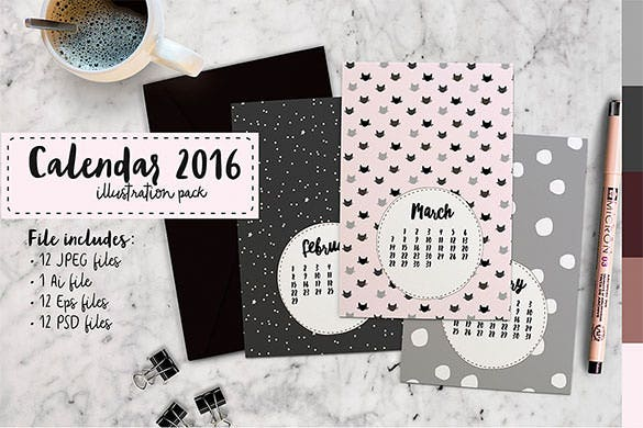 hand drawn calendar 2016 printable