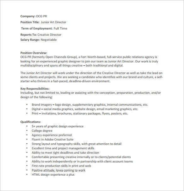 junior art director job description pdf free download