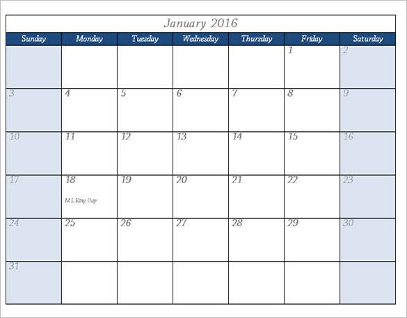 2016 calendar template in word format download
