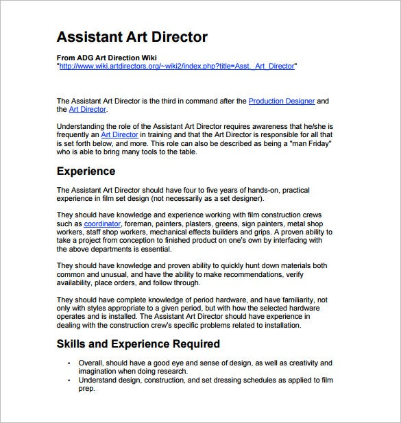 Assistant Art Director Job Description PDF Free Download