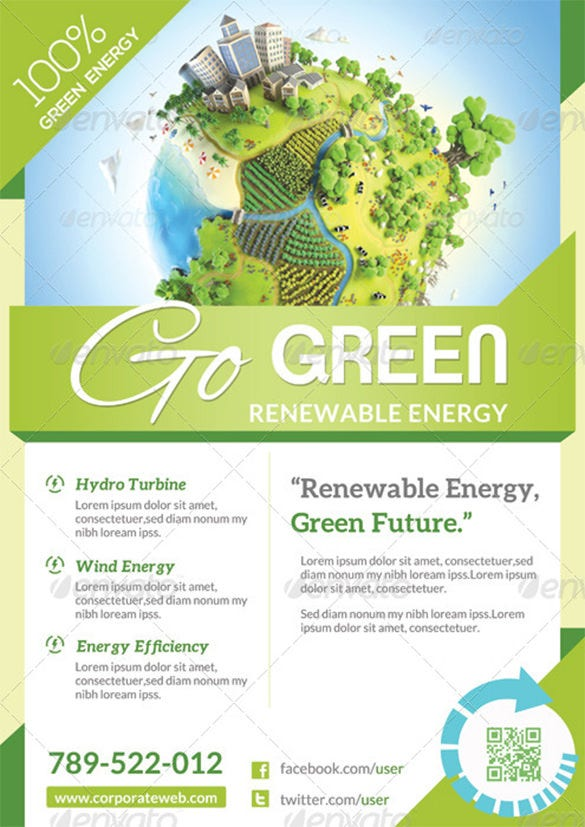 Green Flyer Template. Flyer Template Business Brochure Editable A4