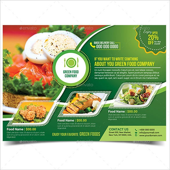 27 green flyer templates psd vector eps free for Free food brochure templates