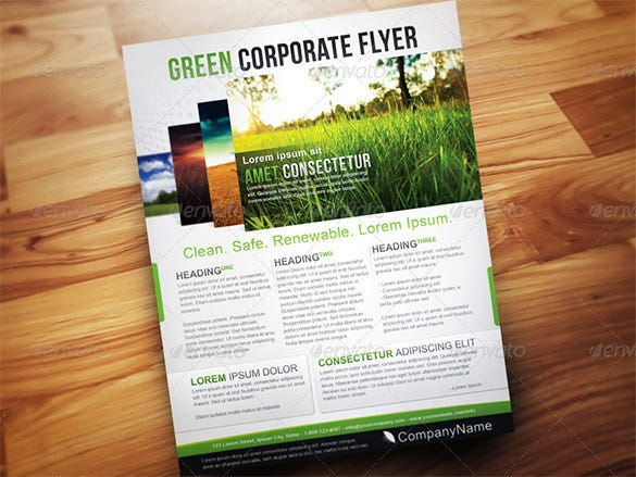 green corporate flyer template