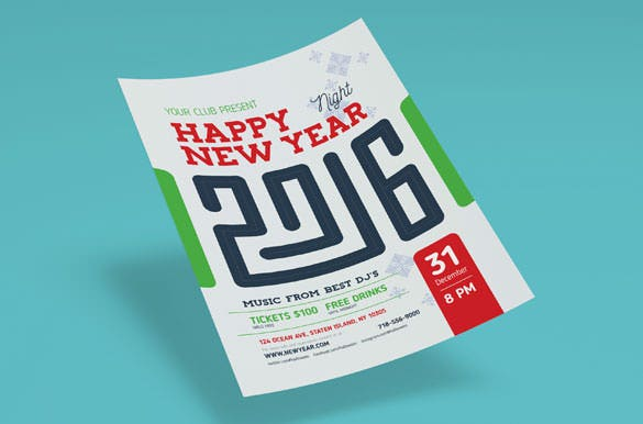 2016 new year poster template ai illustrator format