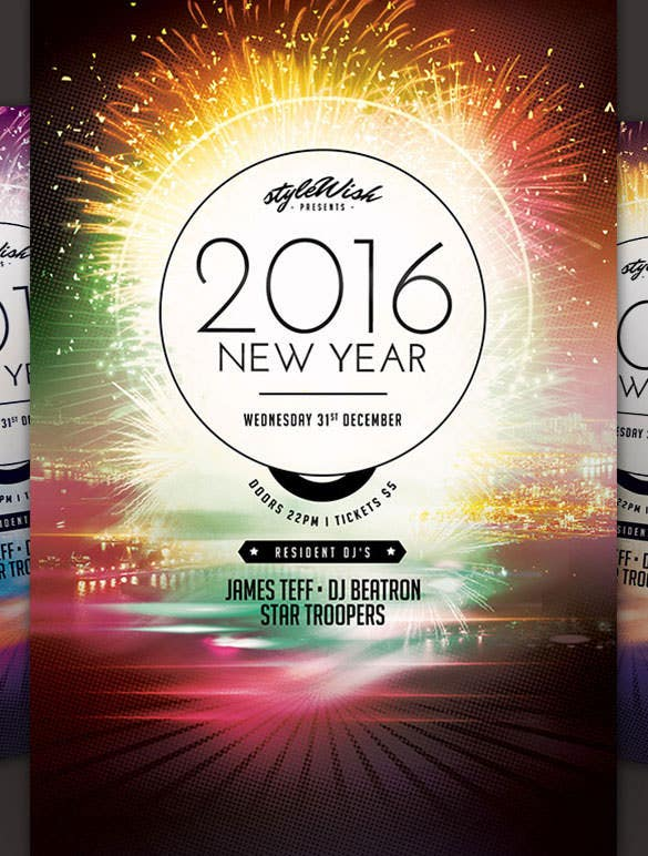 Marvelous 2016 New Year Flyer Poster Template AI Download