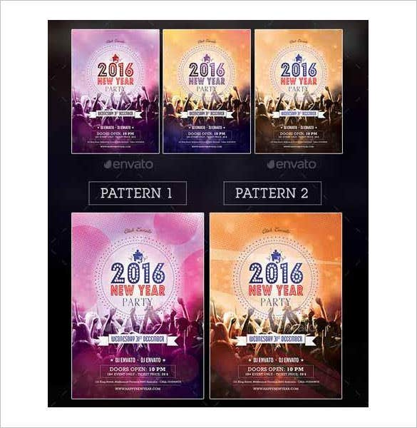 2016 new year party flyer poster template free download