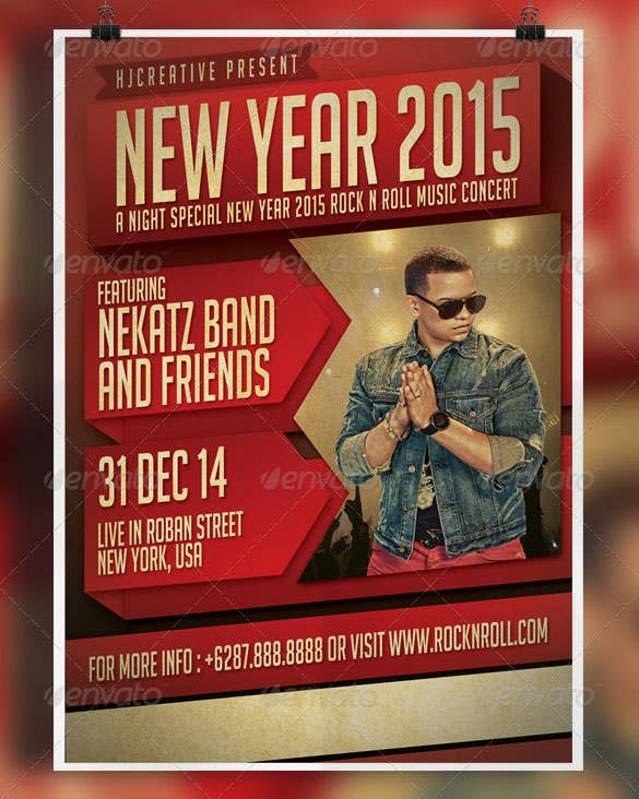 new year poster flyer template psd download