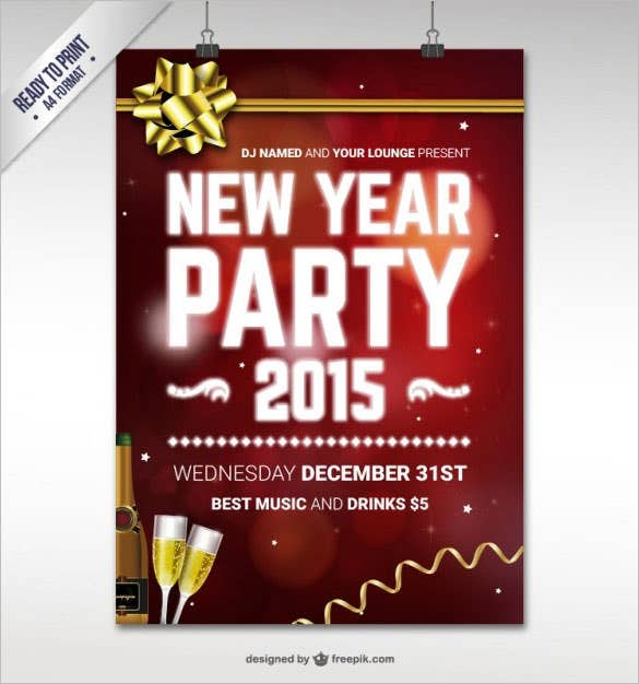 cmyk new year party poster template download