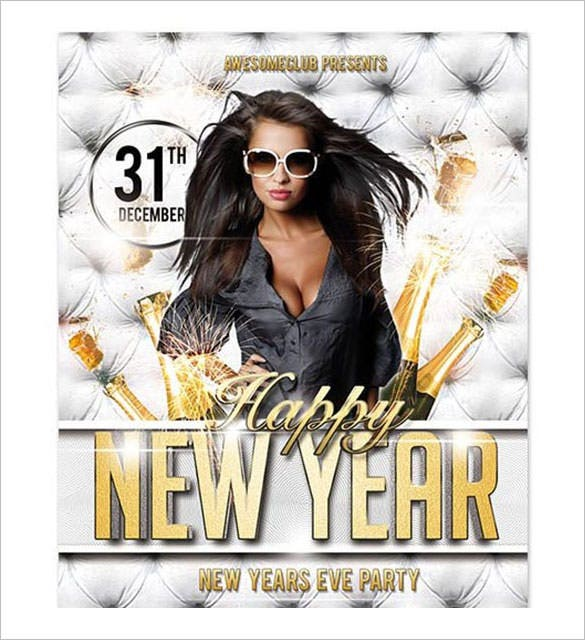 free happy new year party poster psd template download