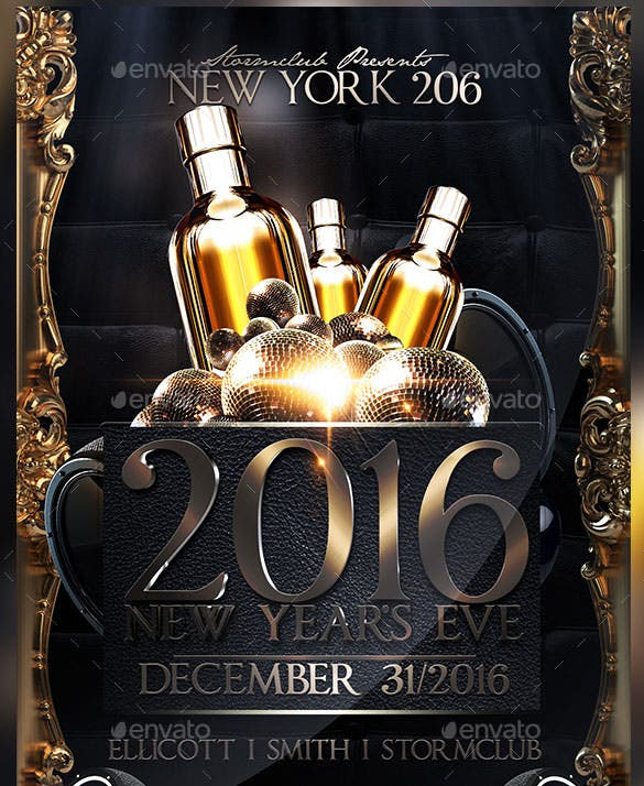 happy new year flyer poster template photoshop psd design