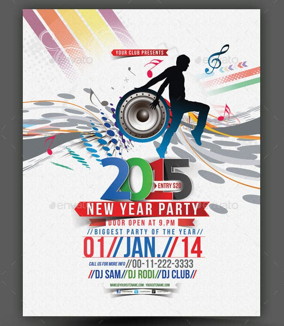new year party flyer poster template photoshop psd