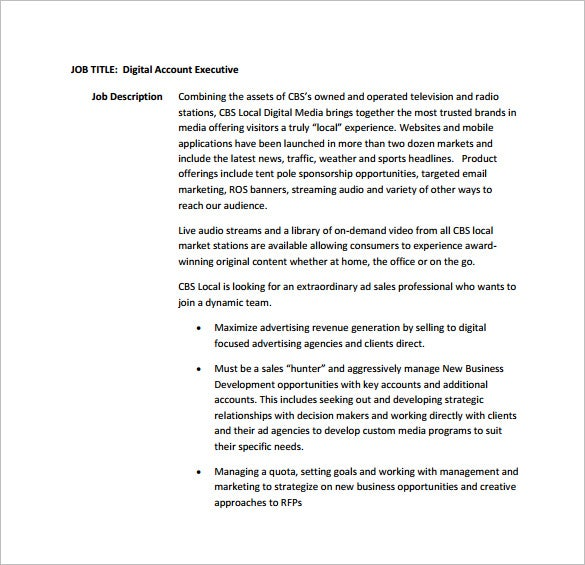 Account Executive Job Description Template – 9+ Free Word, Pdf