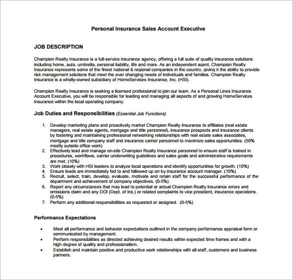 Account Executive Job Description Template   Free Word Pdf