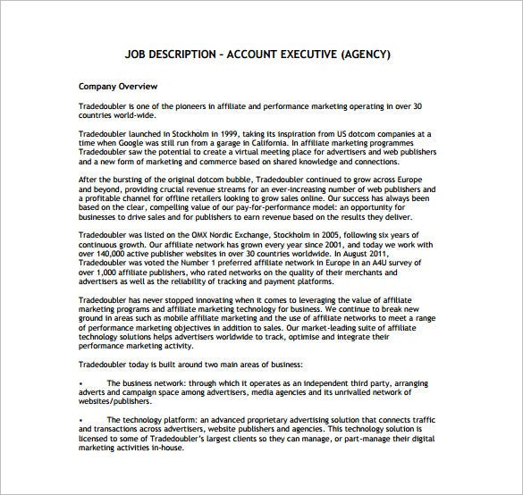 Sample Agency Account Executive Job Description Free PDF Template