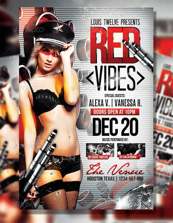 red vibes flyer template