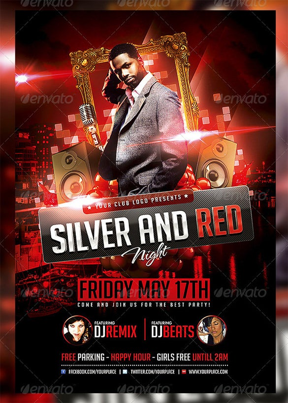 silver and red night flyer template