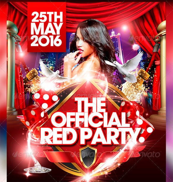 the official red party flyer template