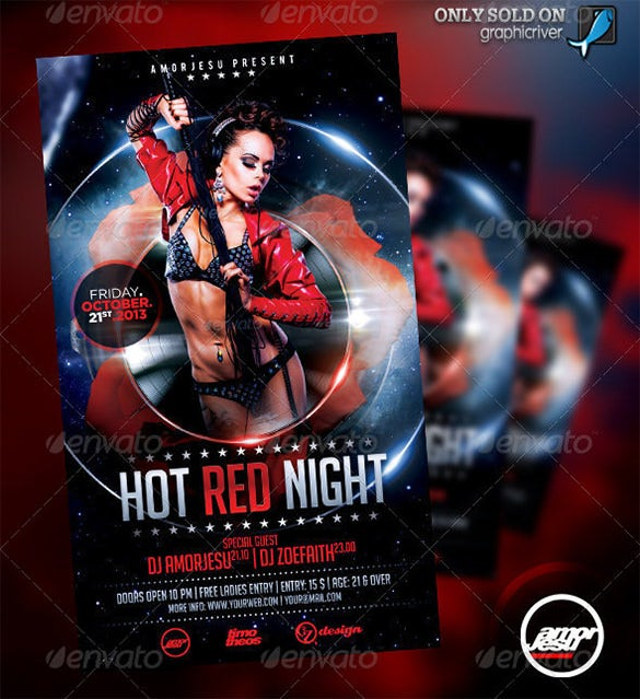 hot red night flyer template