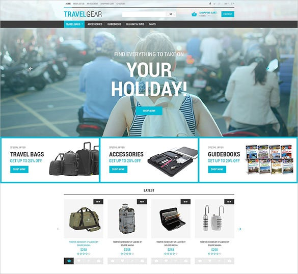 travel essentials store opencart template