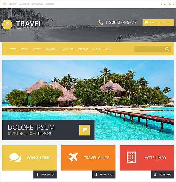 travel agency responsive opencart templat