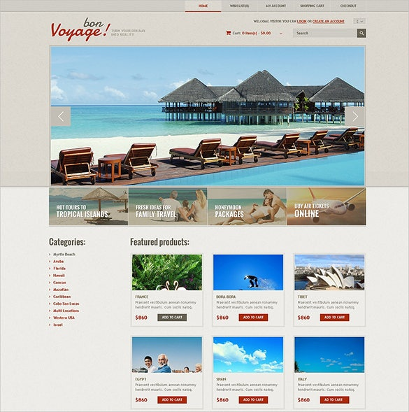 responsive travel store opencart theme