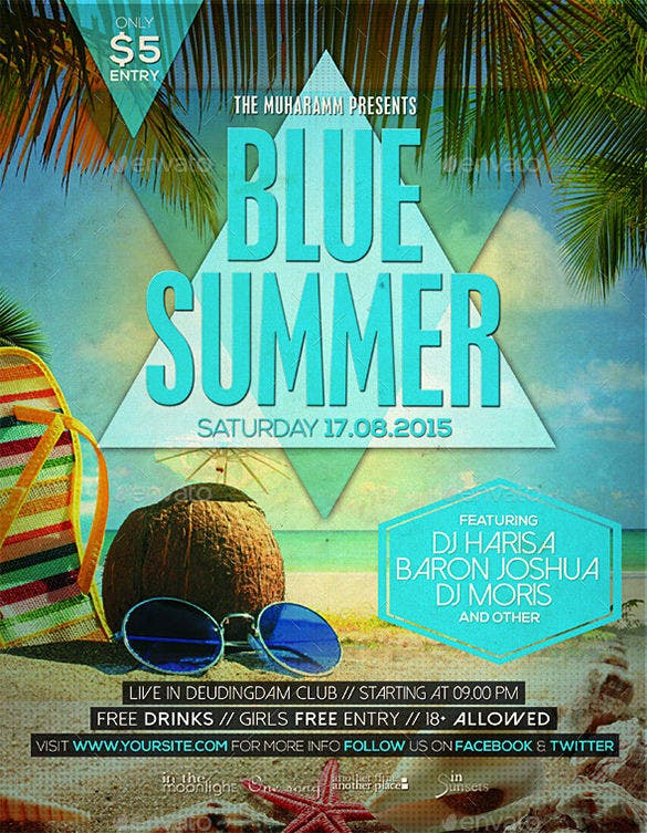 blue summer flyer poster