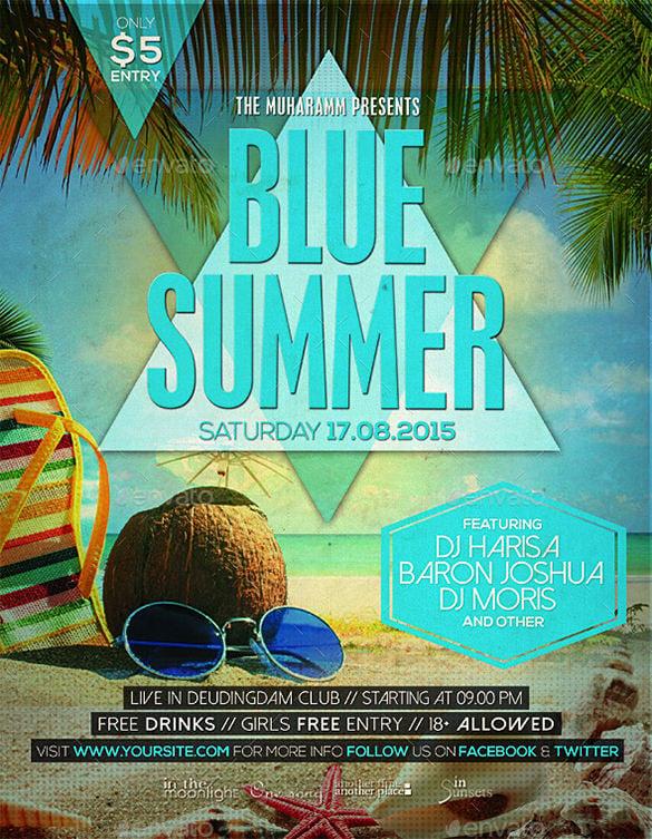 blue summer flyer poster