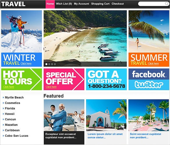 pretty travel store opencart theme