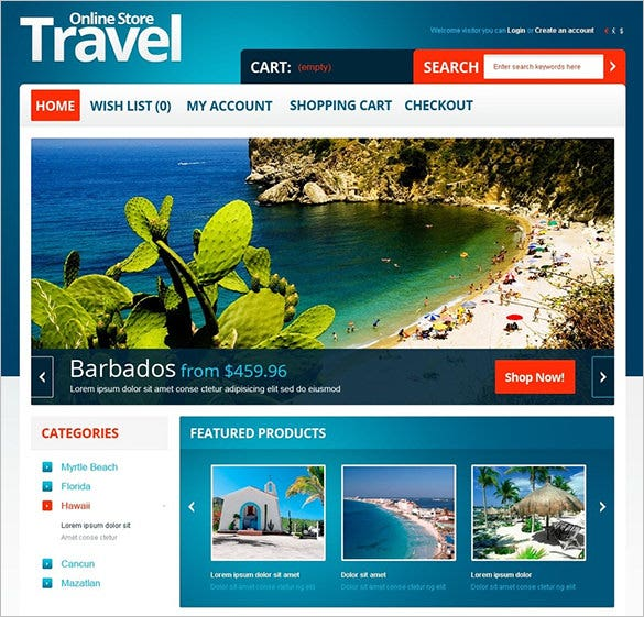 online travel opencart template