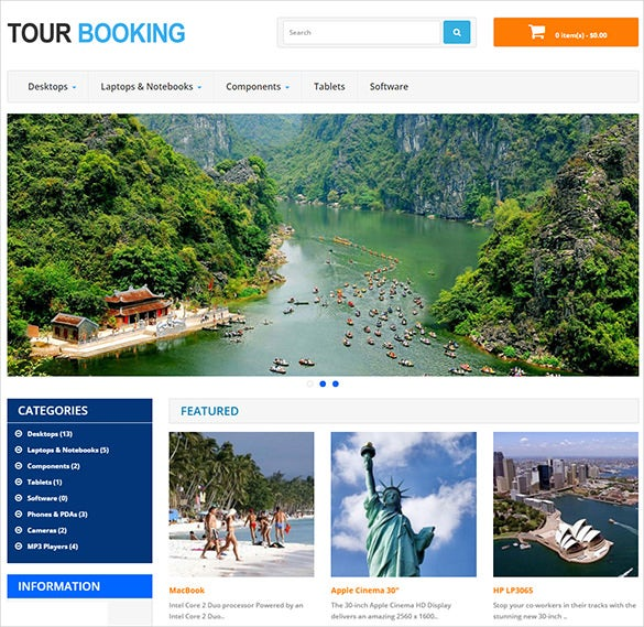 travel booking opencart theme