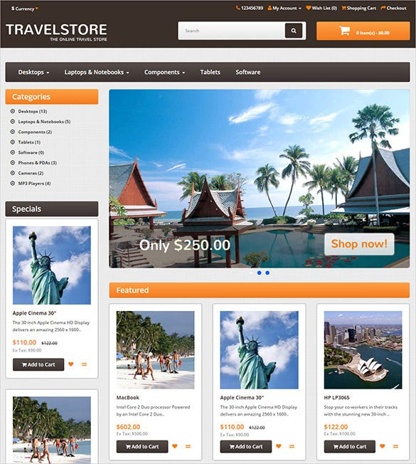beautiful travel opencart theme