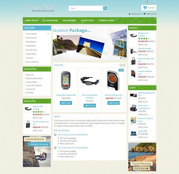 travel store opencart theme