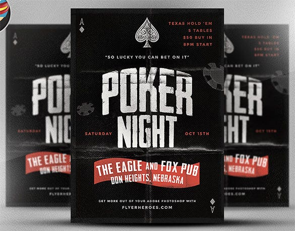 vintage style poker flyer template