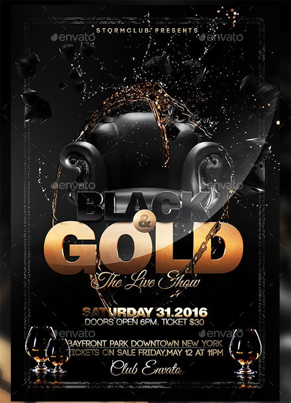 gold and black flyer