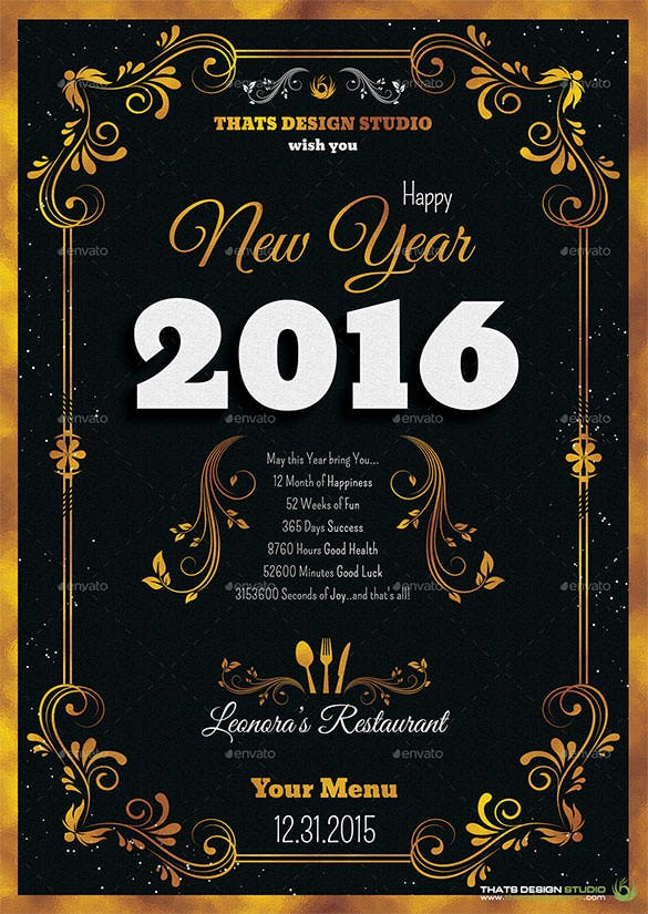 new year menu template photoshop psd format