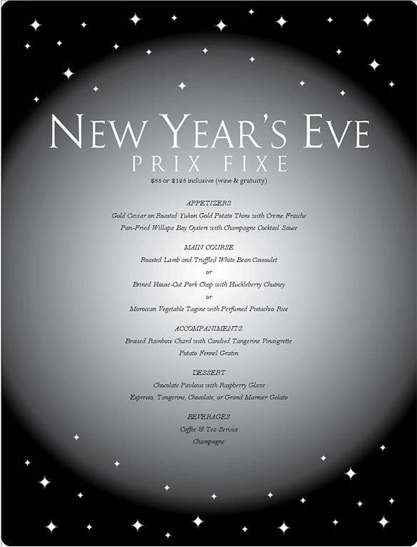 free online editable new years eve party menu template